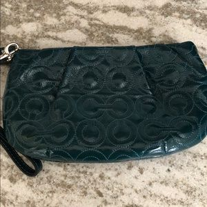 Coach teal patent leather wristlet